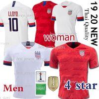 mujer jersey de estados unidos al por mayor-4 estrellas Estados Unidos 2019 Copa del mundo América MORGAN Local visitante KRIEGER HOMBRES + mujer RAPINOE HEATH EE. UU. Jersey de fútbol 2020 LLOYD Uniformes de fútbol camisas