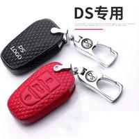 toyota anahtar fob uzaktan kumanda düğmesi toptan satış-Çinko 2019 kolye Citroen DS6 DS5 DS3 DS4 DS7 5LS DS 4S koruma araba anahtarı uygun hediye için alaşım anahtarlık deri otomobil anahtarı durum
