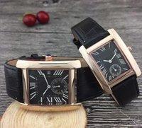 mejor reloj de pulsera de los hombres al por mayor-Rectángulo Italia Pareja de lujo mujeres hombres relojes Correa de cuero Reloj de pulsera de cuarzo dorado clásico para damas mejor regalo de San Valentín relogio