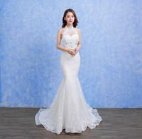 vestido de casamento linho fino venda por atacado-vestido de noiva New noiva lace lace fishtail saia Slim fina pequena trailing