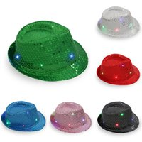 Wholesale led lighted hats for sale - Group buy Hat Fancy Colorful Flashing Light Up LED Fedora Trilby Sequin Fancy Dress Dance Party Hat Unisex Sombrero YJP