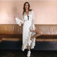 bej bodycon toptan satış-Yüksek Sokak Yaz Bej Vintage Polka Dot Baskı Elbiseler Seksi Parti V Yaka Uzun Kollu Wrap Elbise ile Asimetrik Kadın Elbise