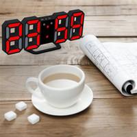 led wanduhr temperatur groihandel-3D-LED-Digital-Wecker Nachtlicht elektronischer Uhr Wanduhr Snooze Desktop-Tischuhr Temperaturanzeige Tisch, Schreibtisch, Wohnkultur