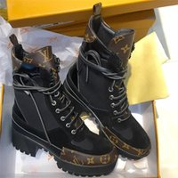 Wholesale woman shoes bootie resale online - Laureate Desert Boots Womens Fashion Leather Casual Printed Luxury Designer Shoes Ladies Platform Heels Ankle Bootie Martin Boots with box