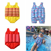 kinder s bikinis großhandel-Kinder Striped Dot Print Bademode Cartoon Schwimm Badeanzug Wal Bikini Kinder Ein Stück Badeanzug Mit Auftrieb TTA697