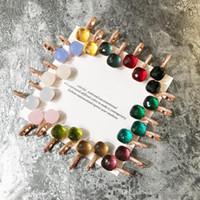 carimbando 18k venda por atacado-2018 top material de bronze paris brinco design com jade natureza e zircon decorar selo logotipo encanto do parafuso prisioneiro brinco com diamantes 18k ouro rosa
