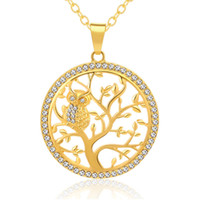 Wholesale tree life pendant gold resale online - Hot European and American fashion Tree of Life Crystal Round Owl Pendant Necklace Gold Silver Colors Women Men Jewelry Gifts
