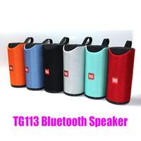 kablosuz bluetooth yüksek sesli bas hoparlörü toptan satış-Hi-Fi yılında TG113 Hoparlör Bluetooth Kablosuz Hoparlörler Subwoofer Eller serbest Çağrı Profili Stereo Bas bas Destek TF USB Kart AUX Hattı Loud