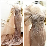Wholesale sparky dresses resale online - Arabic Sparky Sexy Mermaid Evening Dresses Lace Beaded Sheer Neck Prom Dresses Vintage Formal Party Bridesmaid Pageant Gowns robe de soiree
