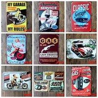 kalay işaretleri eski otomobiller toptan satış-Metal Metal Tabelalar Araç Tamir Mağaza Poster Vintage Lady Motorlu Plaketler Dekoratif Demir Tabaklar Bar Club Duvar Dekoru 39 BK3191 Tasarımları