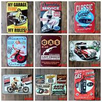 vintager plakatentwurf großhandel-Metallblechschilder Auto Reparatur Shop Poster Vintage Dame Motor Plaketten Dekorative Eisenplatten Bar Club-Wand-Dekor 39 Designs BK3191