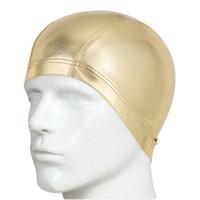 nager porter des chapeaux achat en gros de-AUSTINBEM Adultes Bonnets de natation imperméables Badmuts Chapeau de bain Homme Haut Élastique Couleurs Sliver Gold Wear Hat
