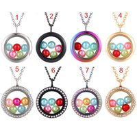 Wholesale floating glass charms for sale - Group buy Multicolor Round More Style mm Beads Living Memory Magnetic Glass Floating Crystal Locket Pendant Necklace Pearl Cage Charms