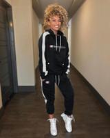 trajes deportivos de moda para mujeres al por mayor-Para mujer 2 unids trajes de diseñador de ropa de moda grandes letras C Mujeres chándales con capucha de manga larga pantalones conjuntos de deportes