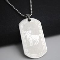 colar de aço zodiacal venda por atacado-1 Aries de aço inoxidável 12 doze constelação sinal colar 12 símbolo Do Zodíaco amuleto colar de sorte de Ouro 12 sinal colar de jóias