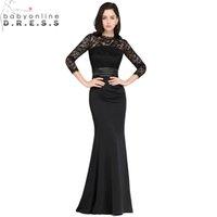 черные вечерние платья три четверти оптовых-Сексуальное кружево черный русалка длинное вечернее платье 2019 Eleagnt дешевые три четверти вечерние платья Robe de Soiree