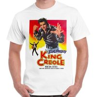 elvis posteri toptan satış-Elvis Presley Kral Creole Müzikal Film Afiş Serin Vintage Retro Tişörtlü 403 Tişört Erkekler Kısa Kollu T gömlek