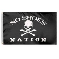 pirata de latão venda por atacado-3x5 Ft sem sapatos da bandeira da nação Banner - O crânio do pirata Sem Cowboy Hat clube de fãs Bandeira de poliéster com guarnições de latão