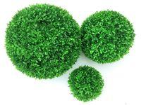 dekoratif suni çim toptan satış-1 adet Yeşil Yapay Bitki Top Topiary Ağacı Şimşir Düğün Ev Açık Dekorasyon Bitkiler Plastik Çim Topu Manmade Yeşillik