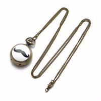schnurrbartketten großhandel-CKKU Schmuck Klassische Schwarze Schnurrbart Bart Retro Vintage Bronze Taschenuhr Lange Halskette mit 32 Zoll Legierung Kette LPW75