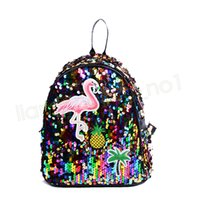 Wholesale satchel pack for sale - Group buy Women Sequin Backpack Flamingos Schoolbag Girls Satchel Cartoon Owl packs Outdoor shoulder bags PU Glitter Party Favor GGA1671