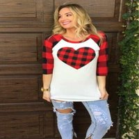 ingrosso camicia d'amore-San Valentino T-shirt da donna Love Heart Plaid Blouse Manica lunga O-Collo T-Shirt Fashion Panel Shirt Home Abbigliamento CCA11094 10 pezzi