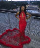 vestidos de noche rojos ajustados al por mayor-Red Sexy Celebrity Evening Maxi Dresses Sin mangas Ilusión Halter Neck Lentejuelas Prom Fit Flare Dress Mermaid Farmal Dresses