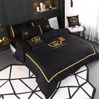 Wholesale king size fashion bedding for sale - 4 Brand Mix Bedding Suit Black Gold Border Embroidery All Cotton Bedding Supplies Fashion Style Queen King Size Bedding Set