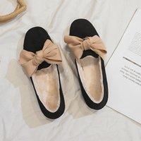 женщины плоские ботинки оптовых-2019 новые зимние балетки из искусственного меха женские теплые мокасины слип на сплошной квадратный носок женские элегантные плоские туфли XWD7134
