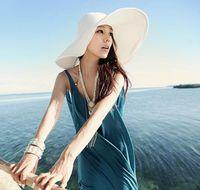 Wholesale adult straw floppy hats online - Sun Straw Beach Hat Cap Women s Large Floppy Folding Wide Brim Cap sunhat Beach Panama Hats GGA1755
