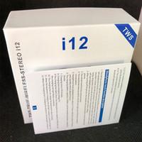наушники с двойным bluetooth оптовых-i12 TWS Touch Беспроводные наушники Двойные наушники Bluetooth V5.0 стерео наушники Наушники беспроводные наушники с сенсорным управлением SIRI
