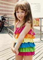 радужные детские костюмы оптовых-Новинка в стиле девочек Rainbow Baby Раффлед сиамские девушки Rainbow Baby купальник купальник цельный детская одежда