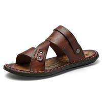 ingrosso sandali in pelle casual traspirante maschile-Scarpe casual da uomo Sandali da spiaggia traspiranti in pelle Pantofola da esterno antiscivolo leggera maschile estiva Zapatos Hombre
