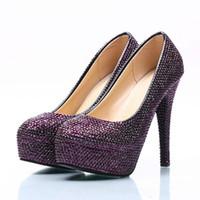 zapatos de vestir de color morado oscuro al por mayor-Los zapatos del partido de boda del Rhinestone púrpura oscuro Tamaño del alto talón de los zapatos de tacón de aguja el vestido de novia Prom Party Bombas del tamaño grande