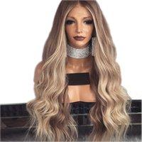 длинные разделенные парики оптовых-Среднего разделения парик Brownblonde Glueless Длинные вьющиеся волнистые синтетические парики фронта шнурка с волосами младенца высокотемпературные парики Ombre волос для женщин
