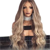 blonde braune lange haare großhandel-Mittelscheitel Brownblonde Perücke Glueless lange lockige gewellte synthetische Lace Front Perücken mit Baby-Haar-Hochtemperatur-Haar Ombre Perücken für Frauen