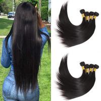 peruvian remy saç paketi toptan satış-Hint Saç 4 Paketler Uzun Stright Saç Demetleri 30 32 Inç Düz İnsan Saç Uzantıları Perulu 100% İnsan Remy Kıllar demetleri