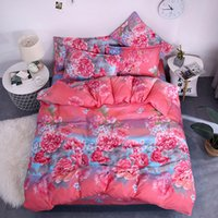 Wholesale black rose bedding set for sale - Group buy Peony Bedding Set King Size Luxury Romantic Floral Duvet Cover Queen Rose Red Twin Full Single Comfortable Bed Cover with Pillowcase