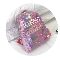 Wholesale bag school girl korea resale online - Korea Kpop BLACKPINK Backpack girls teenage student school bags Laser women back pack leather College bagpack Silver PINK