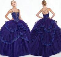 vestido morado oscuro espalda abierta al por mayor-Púrpura oscuro Tres capas Vestidos de quinceañera 2019 Spaghetti Único de espalda abierta con cuentas Cristal de tul Vestido de fiesta Vestido de fiesta 16 vestido largo