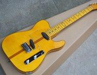 ligação da guitarra do bordo venda por atacado-Frete grátis, Fábrica Amarelo Guitarra Elétrica com Chama Maple Folheado, Transparente Pickguard, Strings-Thru Corpo, Âmbar Encadernação, pode ser Personalizado