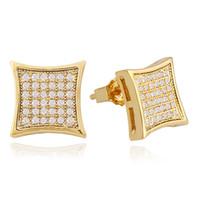 brincos de orelha cheia venda por atacado-Hip hop diamantes completos ear studs para homens geometria strass brincos de ouro real banhado a ouro de cobre diamante quadrado jóias frete grátis
