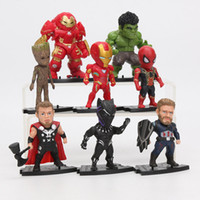 ironman toy pvc großhandel-2019 8 teile / satz Marvel Toys 8-10 cm Avengers Endspiel Als Ironman Spiderman Hulkbuster Black Panther Groot PVC Action-figuren Modell