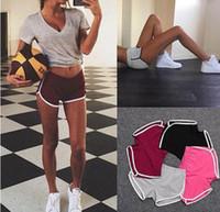 женские досуг шорты оптовых-Летние женщины повседневные шорты Женские спортивные йога хлопок шорты девушка 6 цветов досуг бег трусцой шнурок шорты MMA2083