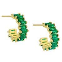 ingrosso orecchini di smeraldo-Orecchino ad anello con zirconi cubici verde smeraldo