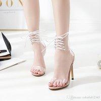 encaje claro hasta zapatos de boda al por mayor-Sexy2019 Pop Europe Lady Tacones altos Sexy Toe Correa del tobillo Zapatos con cordones de fiesta transparente transparente sandalias de boda