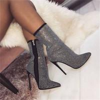 botas decorativas al por mayor-Botines de las mujeres de invierno brillante rhinestone cremallera lateral decorativa en punta 11.5 CM de tacón alto botas moda zapatos cómodos mujeres