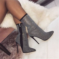 Wholesale side boots for sale - Group buy Women s booties winter shiny rhinestone decorative side zipper pointed CM high heel boots fashion comfortable shoes women