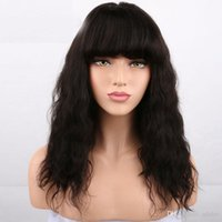 Wholesale human hair chinese bang wig online - Human Hair Wigs With Bangs Bleahed Knots Body Wave Virgin Peruvian Glueless Full Lace Front Wig With Bangs For Black Women