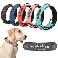 Wholesale custom dog collars resale online - Custom Dog Collar Personalized Dogs Collars Engraved Name Collar For Large Small Dogs Puppy Id Collars Adjustable Cat Necklace